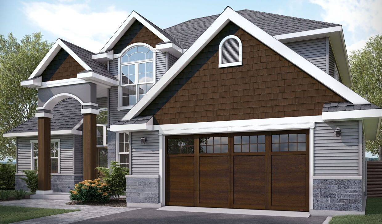 Princeton P-11, 16' x 8', Chocolate Walnut door and overlays, 8 lite Panoramic windows