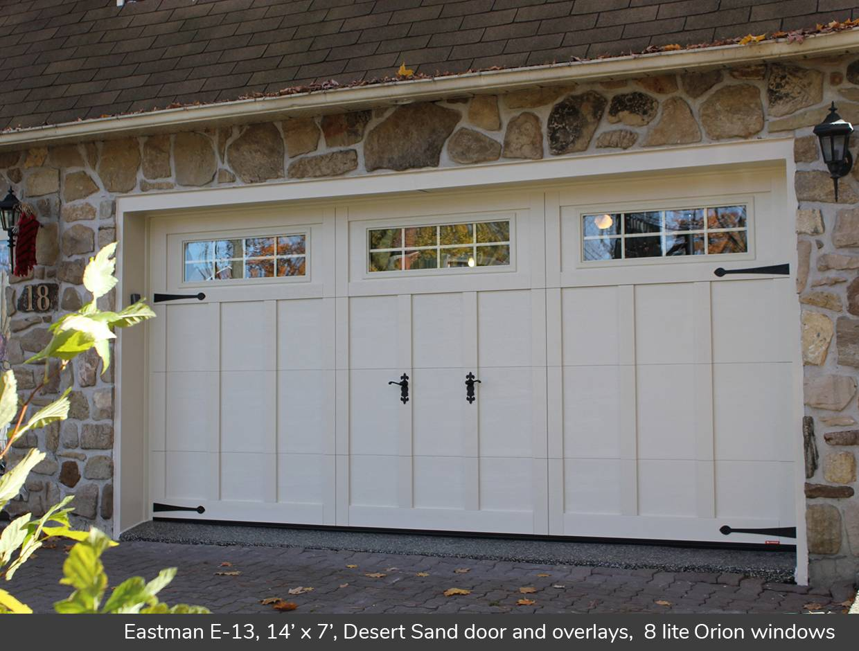 Eastman E-13, 14' x 7', Desert Sand door and overlays, 8 lite Orion windows